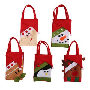 33*11cm 2018 Red Colorful Christmas Tree Santa Claus Snowman Pattern Candy Bag Handbag Home Party Decoration Gift Bag Christmas Supplies