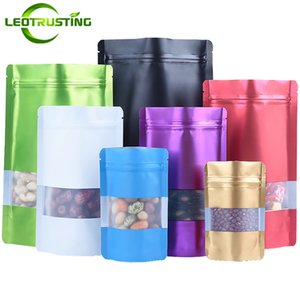 Leotrusting MaBlack Green Blue Gold Purple White Red stand up Foil Window Bag Coffee Chocolate Sugar Packaging Bags