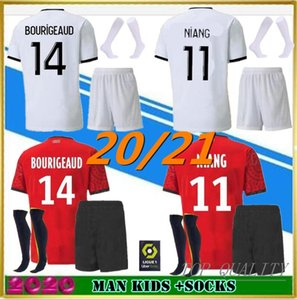Взрослые Kids Kits + носки 20 21 Stade Rennais Soccer Jersey Home 2020 Rennes Maillot de Foot Sarr Niang Bourigeaud Andre Hunou Футбольные наборы