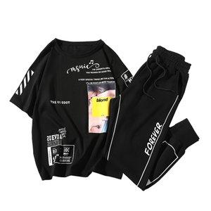 Summer Men Set Sportswear Fashion 2020 Mens Clothing Printed T Shirts Streetwear Pant Male Track Suit Man Two-piece Set T200709