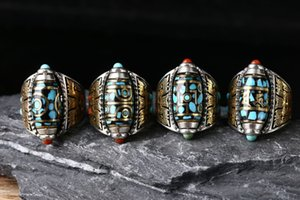 Vintage ring ins cold wind cool bronze animal face pattern Fang Ding Tianzhu rotating sterling silver 925 ring