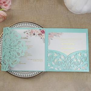 Azul brillante floral personalizado en su Imprimir partido invita boda corte láser Tarjetas de bricolaje del aniversario de boda Marfil Burdeos quinceañera