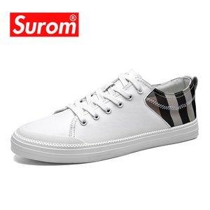 SUROM Erkek Deri Ayakkabı Açık Moda Flats Yumuşak Konfor Sürüş Ayakkabı Erkek Yetişkin Nefes loafer'lar