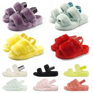 2020 women furry slippers fluff yeah slides sandal Australia fuzzy soft house ladies womens flip flop fur fluffy sandals mens winter slipper