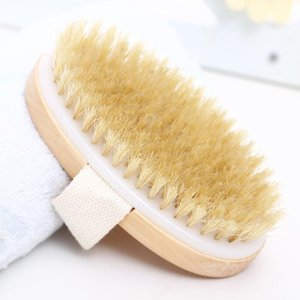 Bañera de madera oval de la piel cepillo de baño seco Cuerpo Natural Health cerda suave del masaje del baño de ducha cepillo de cerdas SPA cepillo del cuerpo sin mango