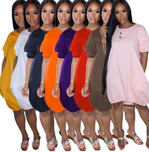 Las mujeres se visten falda de la burbuja de gran tamaño camiseta de la linterna de la falda del verano del diseñador de la manga corta del chaleco vestidos impresa ocasional Ropa para la Cy821