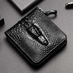 Nuova cerniera RFID protetto progettista degli uomini portafogli maschio Alligator breve a zero borse Innesti no89 moda