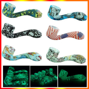 Glow in the Dark Silicone Pipe Glowing Glass Smoking Pipes Ultimate Tool Tobacco Pipes Oil Herb Hidden Bowl Luminous Hookah Pipe