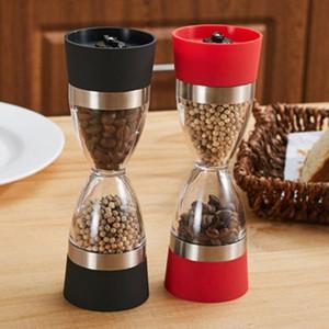 Forma pimentero doble Sal Pimienta Molino de reloj de arena de Spice Grinder Cocina Sal y pimienta Herramienta Grinder Shaker Mill