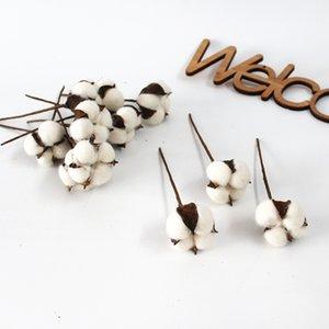 120pcs bag Cotton Bolls Natural Cotton Artificial Flower White Decoration Dried Flowers Decorative Cotton Diy Wedding Flower