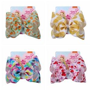 Çocuklar Meyve Serisi ilmek Saç Firkete Baskı Kızlar Renkli Meyve Bow-kravat Bahar Şapkalar Firkete Çocuk ilmek Saç Klipler DH1086 T03