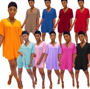 Las mujeres de dos piezas de la camisa sin mangas de deporte del chándal Set juegos de bragas delgado deporte ocasional del color sólido con cuello en V manga del palo de división superior cortocircuitos Ty6178