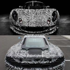 Black White Camouflage Vinyl Wraps adesiva PVC Film Car Enrole Racing Car Camo Etiqueta Veículo DIY decalque com Air Release