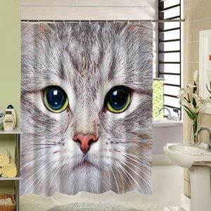 Cool Cat Dog Animal Design Polyester Duschvorhang 3D Stoff drucken Bad Liner Set für Bathrooom Decor