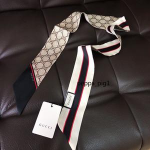 Französisch klassischer Brief aus 100% Seide Schal für Frauen Marke Luxus klassischer Art und Weise weicher Tasche Haar Schal neue weiblichen Mädchen Persönlichkeit Seide Stirnband r