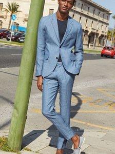 2 Piece Prom Suit for Men Notched Lapel Two Button Blazer Jacket Men Tuxedos Groom Wedding Suits Casual Mens Suit Coat Pant Cheap