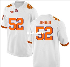 Youth Clemson Tigers Tayquon Johnson 52 Youth realFull embroidery College football Jersey Size S-4XL or custom any name or number jersey
