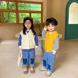 Fashion Kids V-neck knitting waistcoat 2020 Autumn new children knitted Casual vest boys girls all-match sweater Tops V063