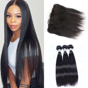 Peruvian Hair Weave Bundles Straight Bundles With Frontal Closure Human Hair 3 Bundles With Lace Frontal Virgin Hair