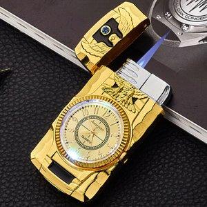 Hot Gold Watch Jet torcia più chiara Turbo Gas Lighter antivento della sigaretta del sigaro in metallo leggero Led gonfiato benzina butano Decoration Men