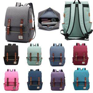 Laptop Backpack Vintage zaino per la scuola Uomo Donna Collegio Racksack Adatto 15 pollici Computer Notebook Bag Tracolla Bookbag Satchel