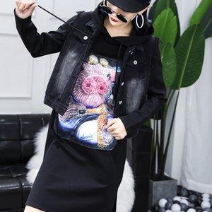 plus size 2 pieces set clothing 2020 autumn sequins cartoon pig Women's Hooded sweatershirt dress and denim vest