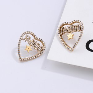 Vintage Kalp Şeklinde elmas küpe Mektupları Tasarımcı Küpe Broş Toka Kadınlar Marka Aşk Küpe Stud Takı Aksesuar