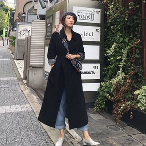 Windbreaker women's Midi Korean autumn 2020 new style simple temperament Windbreaker coat black over-knee chic early autumn coat