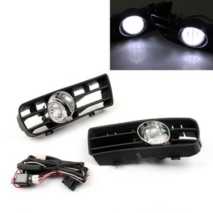 Areyourshop Car Bumper Grille Grill with Driving Fog Lamp Light Fit For 99-2004 VW Golf GTI TDI MK4 Car Auto Accessories Parts