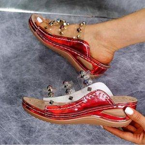 Womens Transparent Sandals Summer Beach Shoes Flip-Flops Open Toe Rhinestone Casual Beach Shoes Flats Bohemian Sandals