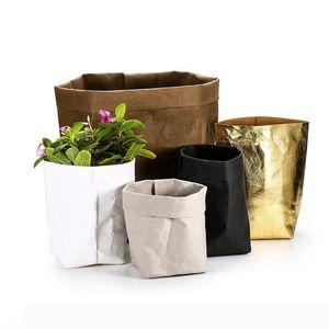 Gardening Washable Kraft Paper Bag Plant Flower Pot Vegetable Grow Bag Basket Multifunction Home Storage Container 10x10x20cm Gold Silver