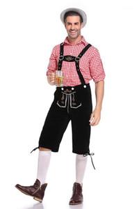 Dois conjuntos de peças camisas xadrez Macacões Calças 2pcs masculinos Halloween Verão Roupa Moda Mens Oktoberfest