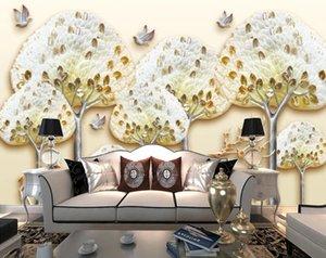 Custom 3D Photo Wallpaper Reindeer Forest Big Tree Sika Deer Wall Mural Wallpapers For Living Room Bedroom Home Decoration