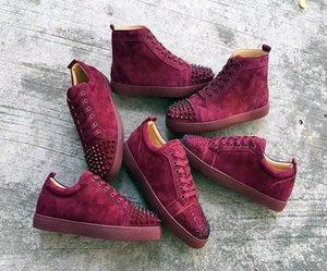 sslouboutinCL2019 New Men Low Cut Red Bottom Sneakers Junior Spikes Men s Flat Rantus Shoes Fashion Lace-up RivetsFlat