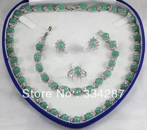 Nuovo elencato! Trasporto libero 6x8mm Perle Verde chiaro Jades collana del braccialetto dell'orecchino Jewelry Set Crystal Jade / haveno scatola MCDE #
