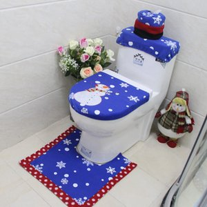 Red Stripe Toilet Seat Covers Three-piece Toilet Set Snowmen Bathroom Cover Wholesale Christmas Decoration Soft Anti-slip Bathroom Mats