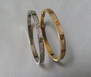 Mode en acier inoxydable ouvert Bracelet pour Femmes Femme à deux rangs zircon Pierre Bangles en / Argent / Rose Couleur Or