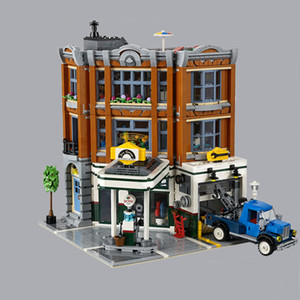 10264 uyumlu 15.042 Köşe Garaj Şehir Tuğla Sokak Görünümü 2876pcs Oluşturan Yapı Taşları Oyuncak Yılbaşı Hediyeleri