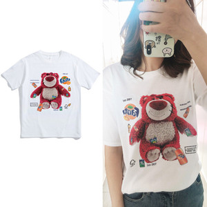 Summer fashion stylist Strawberry bear pattern Women's T-shirt Couples Cotton Men Tops T-shirt Loose O-neck T Shirts short-sleeved