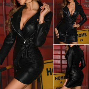 Fashion In 2020 Women Pu Leather Shiny Long Sashes Sleeve V Neck Bodycon Clubwear Party Zipped Dress Us