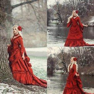 Vintage Red Long Sleeves Wedding Dresses A Line Ruffles V Neck Sweep Train Ruched Custom Made Chapel Wedding Bridal Gown Vestido de novia