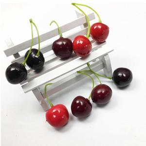 Decoración falso lindo de la fruta de la simulación artificial de cereza Lucky fruta espuma Mini Cerezas de Casa de los accesorios de fotos al por mayor de 3 colores DHF525