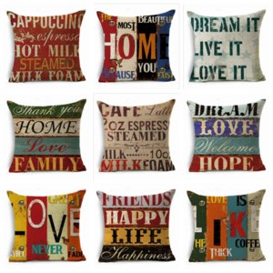 Throw Pillow Case Vintage Hand-Painted Letters 45*45cm Cushion Cover Linen Throw Pillow Car Home Decoration Pillowcase YYA187
