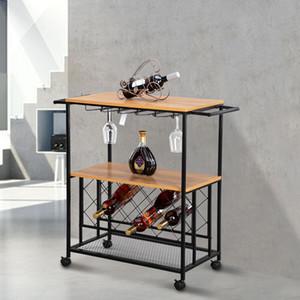2020 Wine Rack Panier Cuisine roulant de stockage de bar en bois Table CHARIOT moderne Ménage Salle pratique Chariot industriel