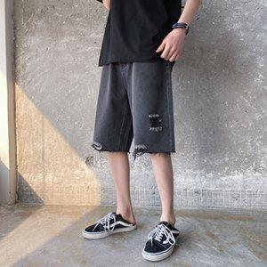 Erkek Yaz Delik Kot Şort Moda Retro Yıkanmış Kısa Jeans Erkek Streetwear Vahşi Gevşek Casual Düz Jeans Ripped