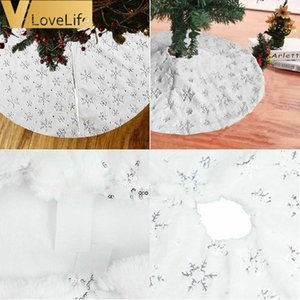 Faux Fur Gold Silver Sequins Christmas Tree Skirts Party Festive Xmas Decorations 90cm 122cm High Quality