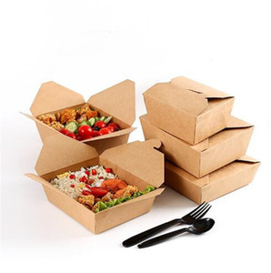 Boîtes à lunch de papier kraft jetables Takeaway Boîte de restauration rapide Boîtes de pliage Boîte d'emballage rectangulaire Boîtes d'emballage de larmoiement Livraison gratuite A02