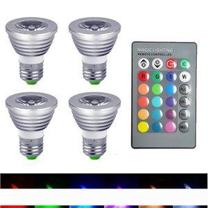 3W 5W E27 GU10 MR16 E14 RGB светодиодные лампы Лампада 16 цветов Dimmable Светодиодная лампа Прожектор 12V + 24key Remote Controller candelier