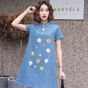 New Arrival Chinese dress cheongsam linen cheongsam dress short sleeve embroidery Print qipao