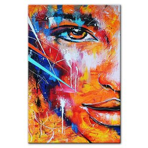 Fire Abstract Half Face Canvas Paintings Modern Graffiti Art Canvas Pictures For Living Room Wall Decoration Posters And Prints